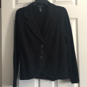 Black blazer with lace trim